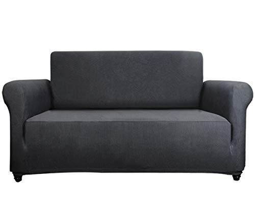 Sancua Couch Cover 1-Piece Durable Jacquard Fabric Sofa Slip Cover 100% Machine Washable with Stretchable Polyester Spandex and Anti-Slip Foam Padding(Sofa,Dark Gray)