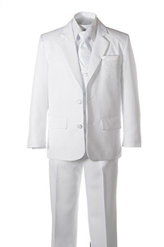Boys White Suit Communion Cross Neck Tie, Covered