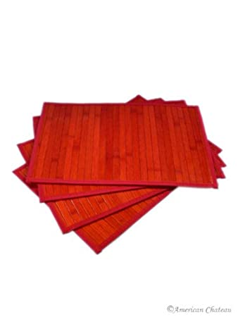 amazon com set 4 piece kitchen red table slat bamboo placemats
