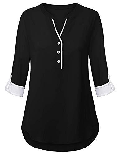 FANSIC Women V Neck 3/4 Roll Sleeve High Low Hem Top Button Down Chiffon Blouse Black L