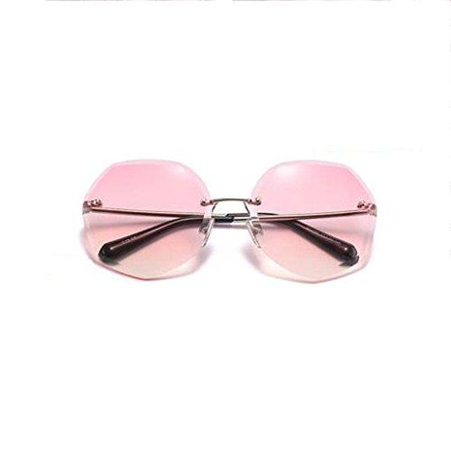 Versión UV Anti Gafas Coreana Style Pink de Blue de Ronda Gafas Sol Gradient con Powder Párrafo Femenina Sol Retro Color Cara el Rojo Harajuku HLMMM Estrella de qwXI0H8X