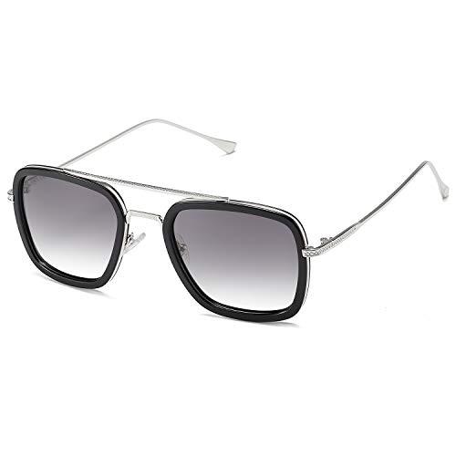 SOJOS Polarized Sunglasses for Men Women Retro Aviator Square Goggle Classic Alloy Frame Tony Stark Sunglasses Gradient Flat Lens SJ1126 with Silver Frame/Black Rim/Gradient Grey Lens