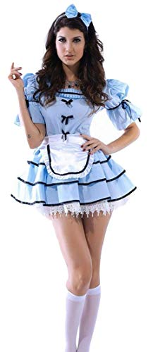 Ladies Sexy 3 Piece Looking Glass Alice in Wonderland Halloween Fancy Dress Costume Outfit (UK 10-12) Blue-White