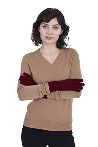 Cashmeren 100% Pure Cashmere Gloves, Cable Knit Design - Ultimate Soft and Warm (Burgundy, One Size)