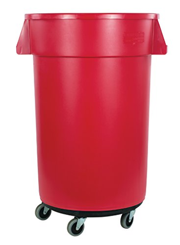 - Carlisle 34114405 Bronco Round Waste Container & Dolly Combo (Lid Sold Separately), 44 Gallon, Red