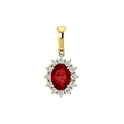 Bonyak Jewelry Lab-Created Ruby 14k Yellow Gold Chatham Created Ruby & 1/3 CTW Diamond Pendant