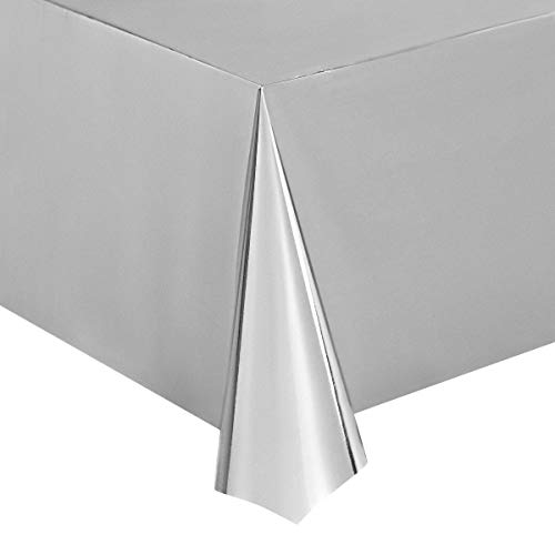 Juvale Silver Foil Tablecloth - 3-Pack 54 x 108 Inch Shiny Plastic Tablecloth, Fits up to 8-Foot Long Tables, Silver Themed Party Supplies, 4.5 x 9 Feet