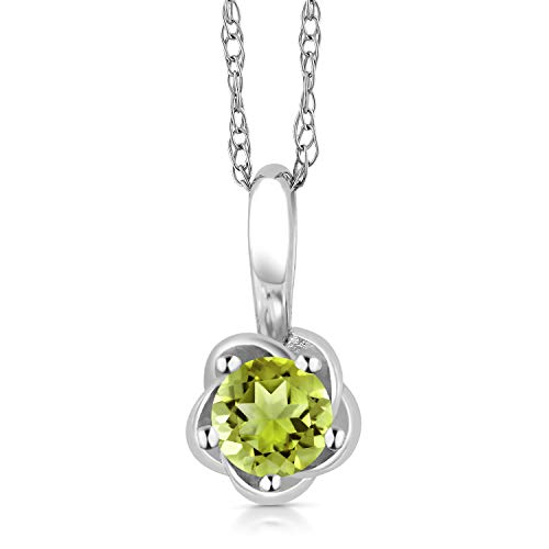 Gem Stone King 10K White Gold Green Peridot Pendant Necklace, 0.18 Ctw Round Cut Gemstone Birthstone (10k Peridot Necklace)
