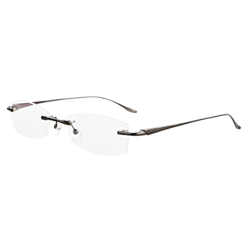 Bi Tao Gun Gray Metal Nearsighted Myopia Distances Glasses - 3.00 Men Women Fashion Rimless Distances Eyeglasses 23 Strengths Available **These are not reading glasses**