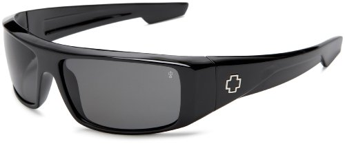 Spy Optic Men's Logan Wrap Sunglasses,Shiny Black Frame/Grey Lens,one - Optic Spy Glasses