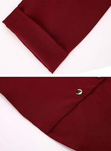 Mode Tunique Manches Femme Button Chemisier Blouse Haut Chic T Aitos Casual Rouge Top Longues Vin Up Shirt W6nRx5F