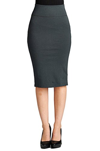 Ollie Arnes Women's Mid-Length Stretchy Pencil Skirt With Endless Versatility 80_CHARCOAL S - Professional Pencil Skirt