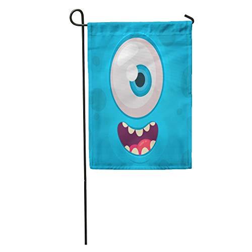 Semtomn Garden Flag Colorful Alien Funny Monster One Eye Face Halloween Cartoon Animal Home Yard House Decor Barnner Outdoor Stand 28x40 Inches Flag ()
