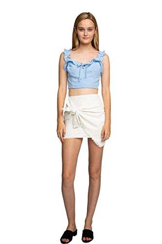 You and Pio Clothing Classic Wrap Asymmetrical Wrap-Around Mini Skirt (White, Large)