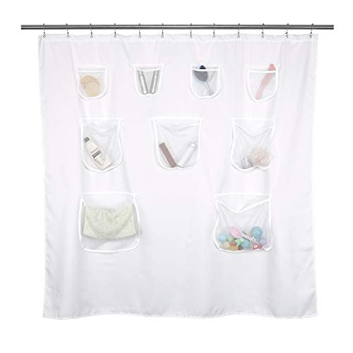 Mrs Awesome Short Fabric Shower Curtain or Liner with 9 Mesh Pocket - 71 x 66 inch, Water Repellent, Odorless, Washable and Rust Proof Grommets