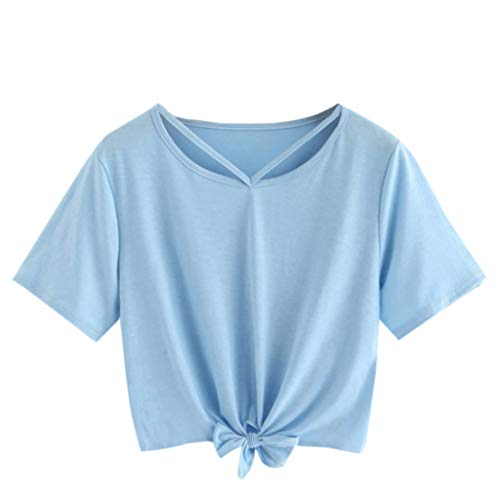 Women Teen Girl Crop Tops Cute Saturn Star Print Short Sleeve Fashion T Shirt Blouse (Blue 1, S)