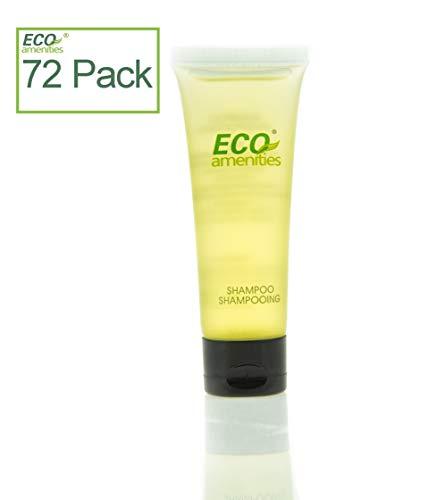 ECO AMENITIES Transparent Tube Flip Cap Individually Wrapped 30ml Hotel Travel Shampoo, 72 Tubes per Case