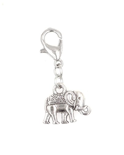 Stainless Steel Lobster Clasp with Alloy Elephant with Blanket Clip On Charm (DS Elephant) SSCL 80Ad