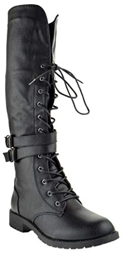 Nature Breeze Lug 15KH Womens Knee High Dual Buckle Military Lace Up Combat Boots Black 9