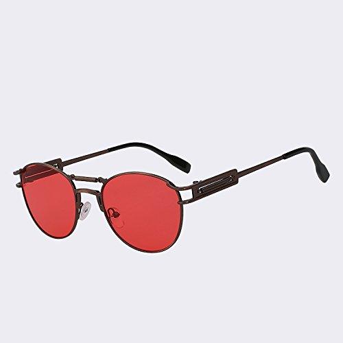 Vintage de de lens lente red dobles hombres TIANLIANG04 UV400 alta moda de sea vigas latón metálicas Steampunk w Gafas W hombre Brass calidad de del gafas Oculos sol marrón para Gafas 00ASzB