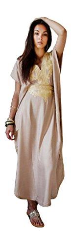 Wear up A Fashion Resort Nuevo Marrakech Caftán Cover Hecho Beige Algodón Oro Con Caftan Mano Mujer W8RnR4YqS