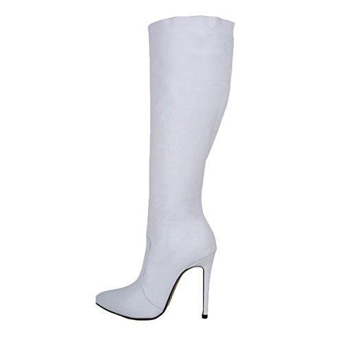 HooH Damen Thigh High High Reißverschluss Heel Stiefel Stiefel Weiß Plattform Kniehohe 44qwUr