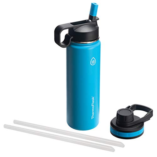 - Thermoflask 50052 Double Insulated Stainless Steel Water Bottle with Chug Straw Lid, 24 oz, Capri