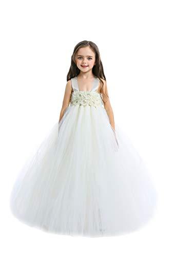 Baby Girls' Ivory Flower Girl Tutu Dress for Wedding and Birthday Photoshoot
