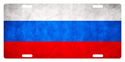 Russia Flag Russian Emblem Paper Personalized License Plate Aluminum Car Plate Decorative Car Tag Sign Metal Auto Tag Front License Plate 4 Holes (12