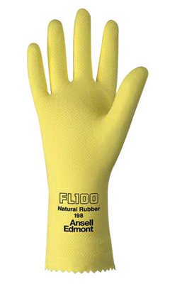 Ansell Size 9 Lemon Yellow FL100 12'' Cotton Flock Lined 17 mil Unsupported Natural Rubber Latex Chemical Resistant Gloves With Fishscale Grip Finish And Pinked Cuff