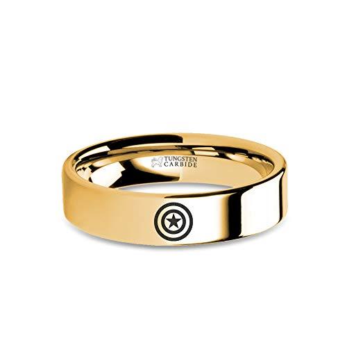 Captain America Star Shield Design Engraved Gold Tungsten Ring - 6 mm