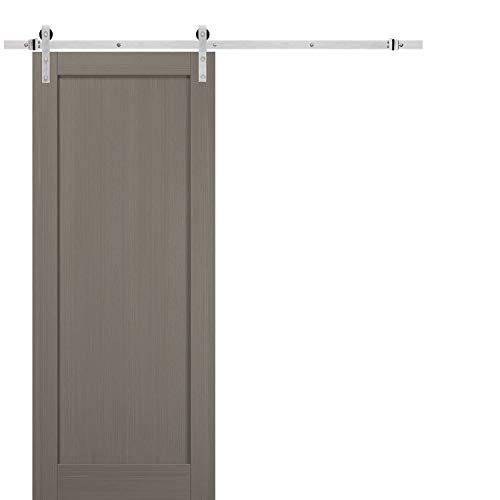 Sliding Barn Door 18 x 96 with Stainless Steel 6.6ft Hardware | Quadro 4111 Grey Ash | Top Mount Rail Hangers Sturdy…