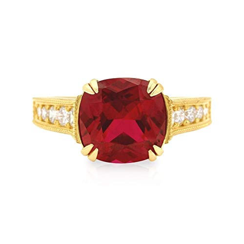 14k Yellow Gold Cushion Cut Solitaire Created Gemtone Engagement Ring Size 5-8, Ruby, 9 (Ruby Cushion Cut)