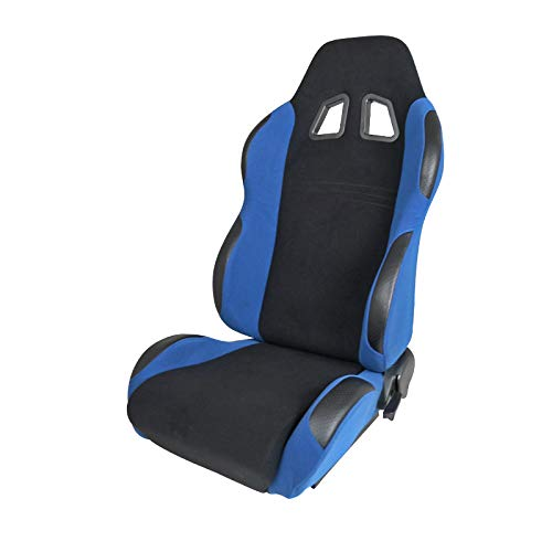[Driver] Black/Light Blue Fabric Cloth Reclinable Sports Racing Seat w/Slider