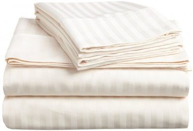 d Sheet Set Ivory Stripe 100% Egyptian Cotton in 600 Thread Count ()