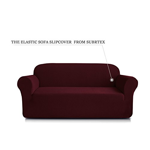 Subrtex 1-Piece Spandex Stretch Sofa Slipcover (Loveseat, Wine) (Furniture Room Drawing)