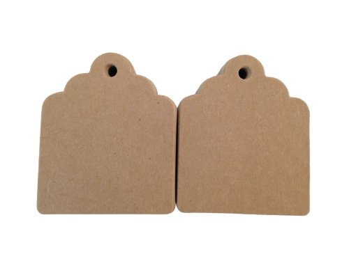 100 Count Chipboard Scalloped Hang Tags for Crafts, Gifts, Party Favors, Price Tags by Fiendish Thingy Studios