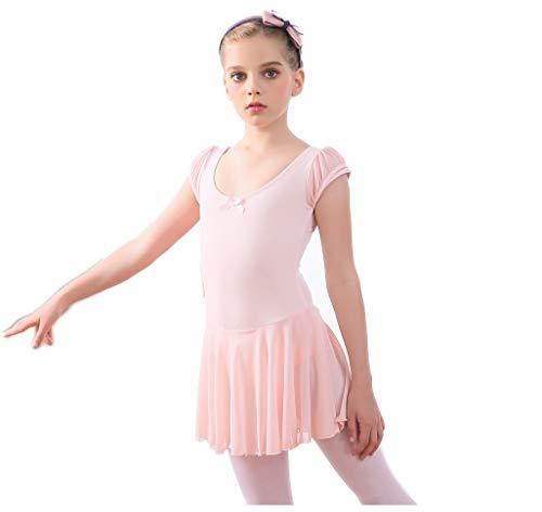 Cotton Flutter Sleeve Ballet Dance Skirted Dress BalletPink Tutu Leotard 6X ()