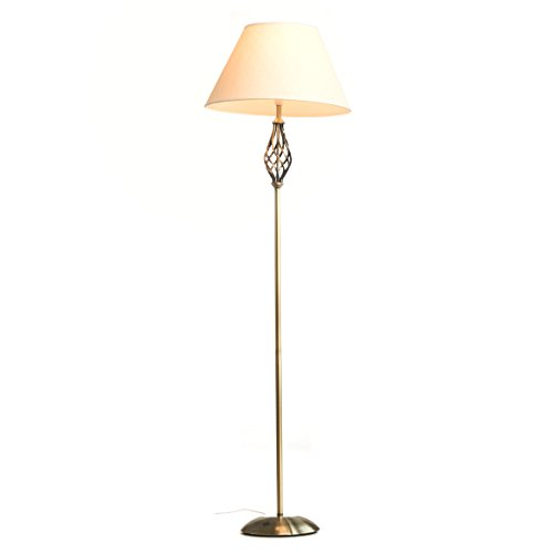 Kingswood Barley Twist Traditional Floor Lamp - Antique Brass With Cream...
