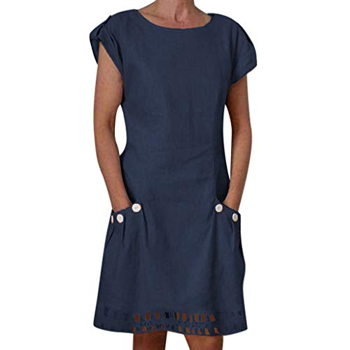 NRUTUP Women Cotton Linen Casual O-Neck Ruffled Pockets Lace Shift Daily Buttoned-Decor Dresses Party Hot(Navy,S)