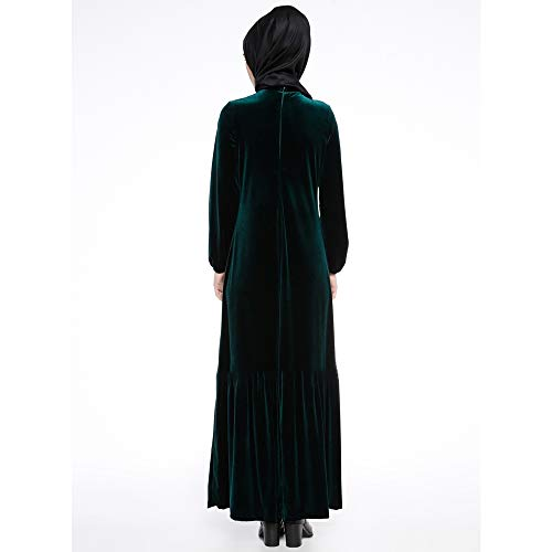 Autunno Donna Abito Bozevon Vestibilità E Inverno Musulmano Verde Morbido Con In Maxi Velluto Per wqpwFUIWXA