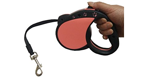 Retractable Dog Leash Nylon Tape 16.5 ft (5M) for Pets, Pink Black by Doggy Depot