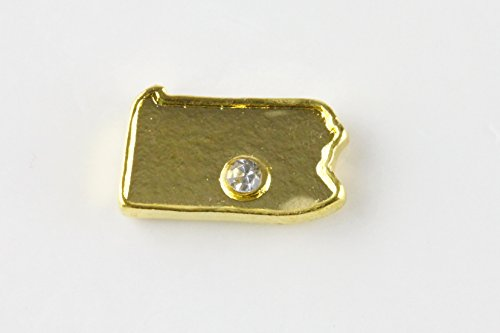 Floating Charm Pennsylvania State Shaped with Cz Stone