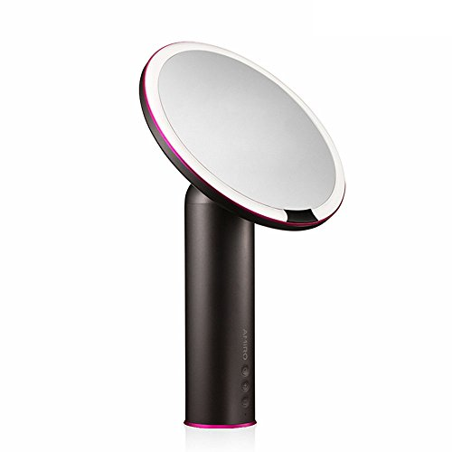 Mag Adjustable Mirror - Amiro Smart Lighted Makeup Mirror with Natural Daylight LED Lights, Motion Sensor, Adjustable Brightness, Rechargeable and Cordless, High Definition Countertop Vanity Mirror, Black