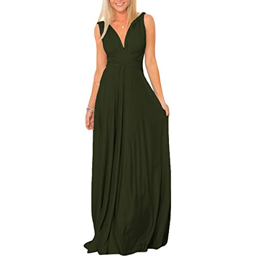 Womens Transformer Convertible Multi Way Wrap Long Prom Maxi Dress V-Neck Hight Low Wedding Bridesmaid Evening Party Grecian Dresses Boho Backless Halter Formal Cocktail Dance Gown Army Green - Camisole Dress Dance