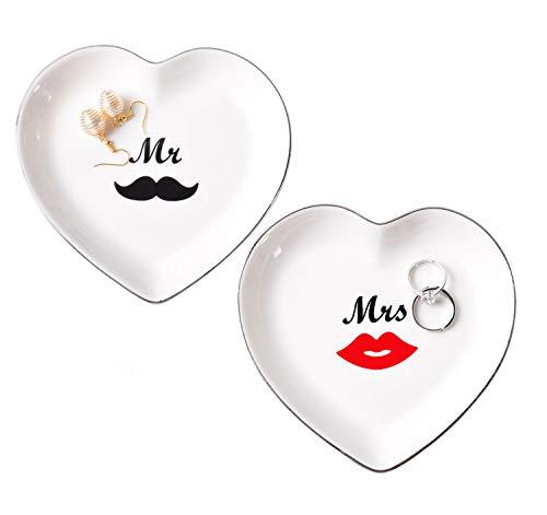 Rasehouse Engagement Ring Jewelry Dish | Mr & Mrs Couples Ceramic Trinket Tray Set Wedding Gift Bride Groom from RaseHouse