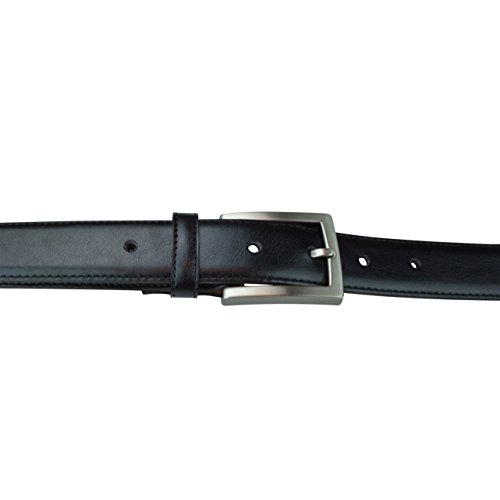 """Mens Casual Belts, Made with Recycled Materials and Cruelty Free Products, Vegan Belt, Genuine Non Leather Belt with """"Brushed Gun-Nickel"""" Belt Buckle, Truth Smith (Black, 34)"""