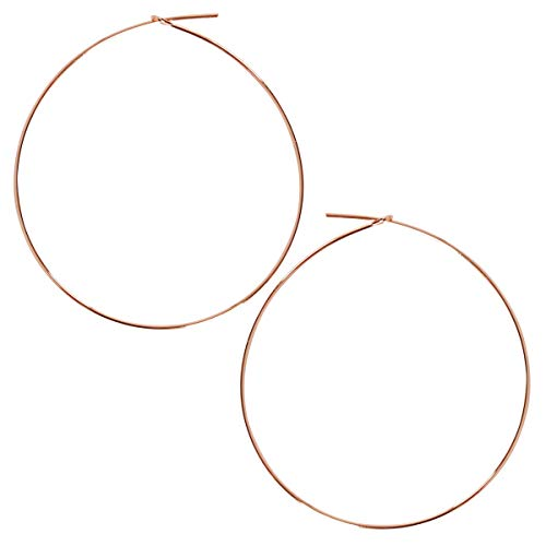 Humble Chic Round Hoop Earrings - Hypoallergenic Lightweight Wire Threader Loop Drop Dangles for Women, Safe for Sensitive Ears, 18K Rose - 2 inch, Pink Gold-Electroplated, Large ()