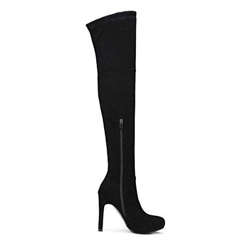 Damen Stiefel Schuhe High Heels Stiletto Overknee Dunkelblau