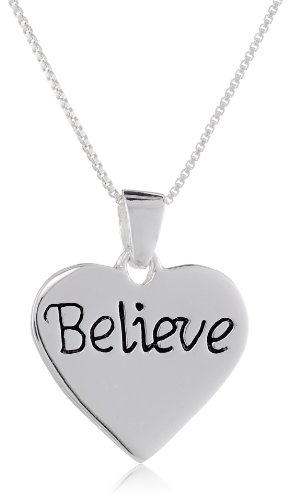 Sterling Believe Reversible Pendant Necklace